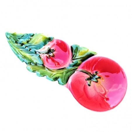 Poggiamestolo ceramica dipinto a mano Made in Italy decoro pomodori