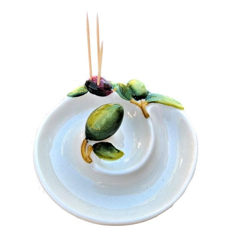 Porta olive stecchini spirale ceramica Made in Italy dipinto a mano decoro olive rilievo
