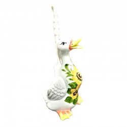 Anatra Porta Scopino Bagno ceramica Made in Italy dipinto a mano decoro girasole