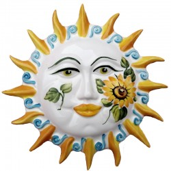 Sun rays hand painted ceramic with sunflowers decoration Made in Italy