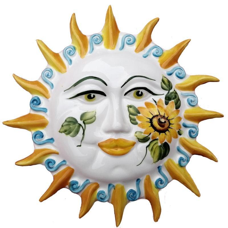 Sole raggi ceramica dipinto a mano decoro girasoli Made in Italy
