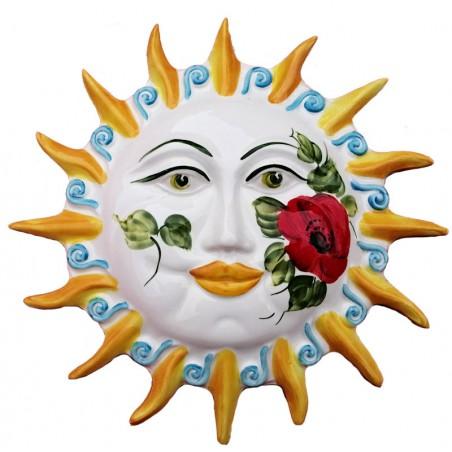 Sole raggi ceramica dipinto a mano decoro Papaveri Made in Italy