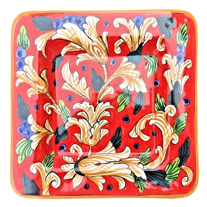 Piatto vassoio ceramica maiolica Deruta dipinto a mano quadrato decoro Rosso Artistico