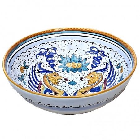 Bolo Insalatiera ceramica maiolica Deruta dipinto a mano decoro Raffaellesco