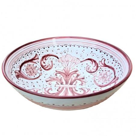 Bolo Insalatiera ceramica maiolica Deruta dipinto a mano decoro Ricco Deruta Rosso