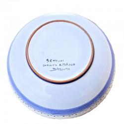 Bolo Insalatiera ceramica maiolica Deruta dipinto a mano decoro Ricco Deruta Blu monocolore