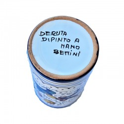 Portapenne ceramica maiolica Deruta dipinto a mano decoro Ricco Deruta Blu