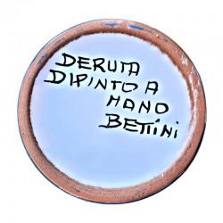 Portaspazzolini bicchiere ceramica maiolica Deruta dipinto a mano decoro Ricco Deruta blu monocolore