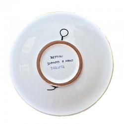 Piatto ceramica maiolica Deruta dipinto a mano da Parete o Centrotavola decoro Vario Fascia Gialla