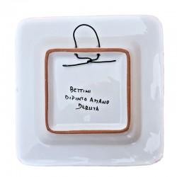 Piatto vassoio ceramica maiolica Deruta dipinto a mano quadrato decoro Raffaellesco