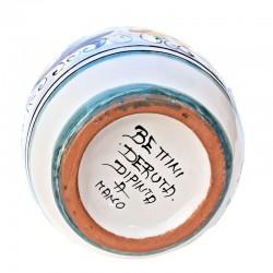 Oliera ceramica maiolica Deruta con manico dipinta a mano decoro Ricco Deruta Giallo