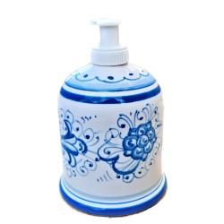 Portasapone Liquido ceramica maiolica Deruta dipinto a mano decoro ricco Deruta turchese monocolore