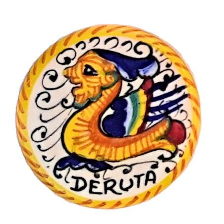 Calamita magnete ceramica Maiolica Deruta dipinta a mano rotonda