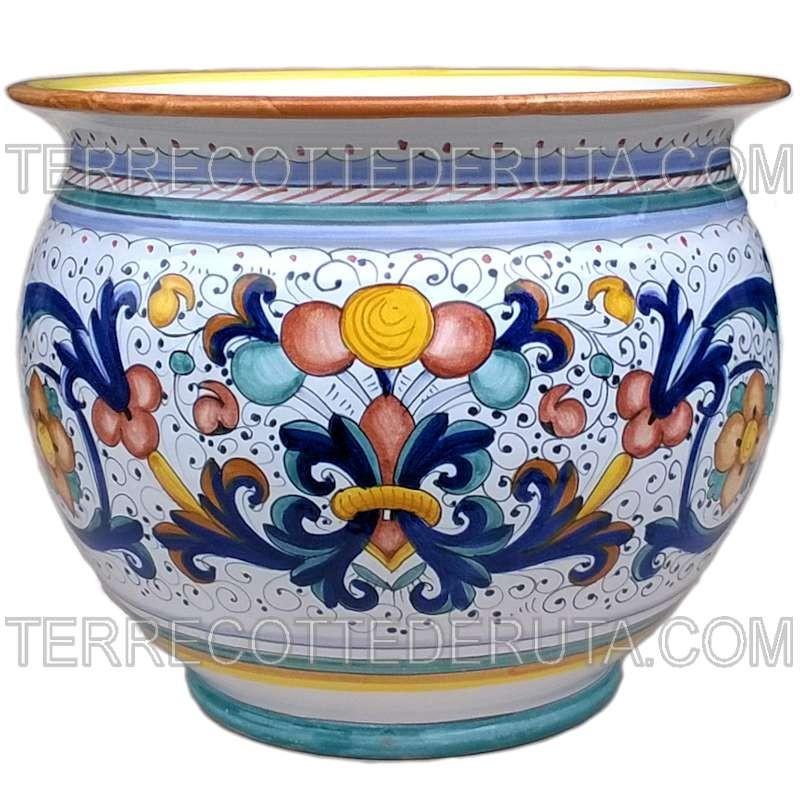 Porta vaso cachepot ceramica maiolica Deruta dipinto a mano decoro Ricco Deruta Giallo